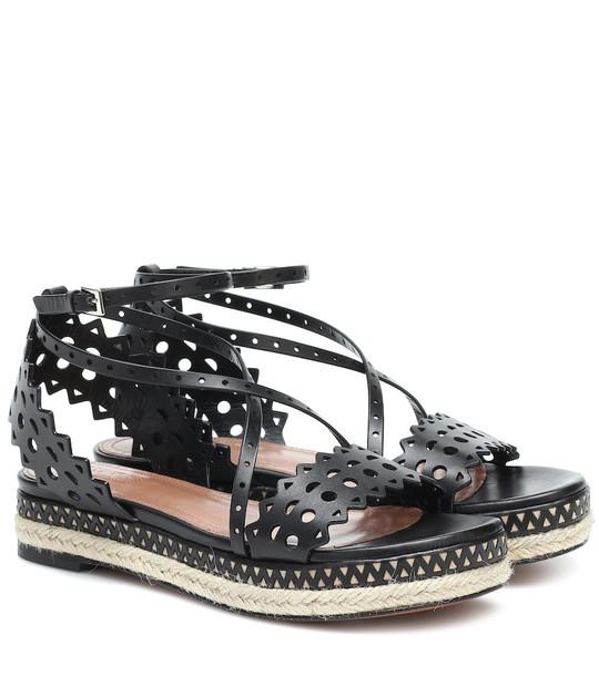 Alaïa Leather espadrille sandals in black