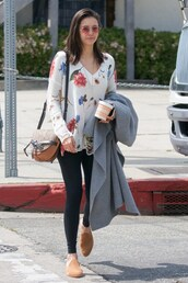 top,floral,flowers,nina dobrev,streetstyle,spring outfits,celebrity