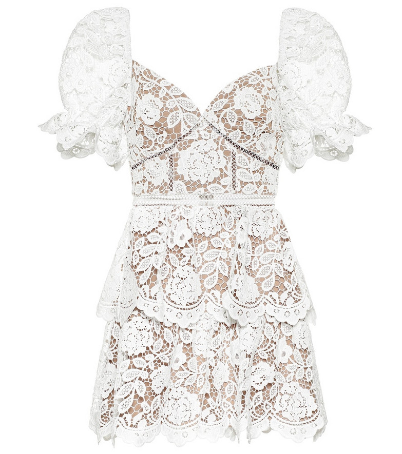 Self-Portrait Floral-lace minidress in white