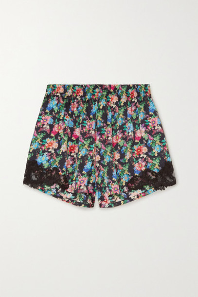 Paco Rabanne - Lace-trimmed Floral-print Satin Shorts - Black
