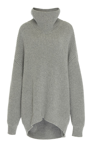 Givenchy Oversized Wool-Blend Turtleneck Sweater Size: M in grey
