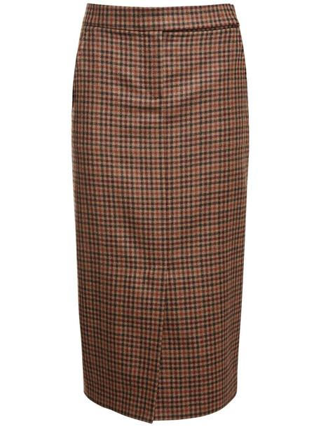 MAX MARA Wool & Cashmere Check Midi Pencil Skirt