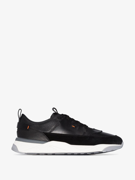 Santoni Black Runner leather low top sneakers