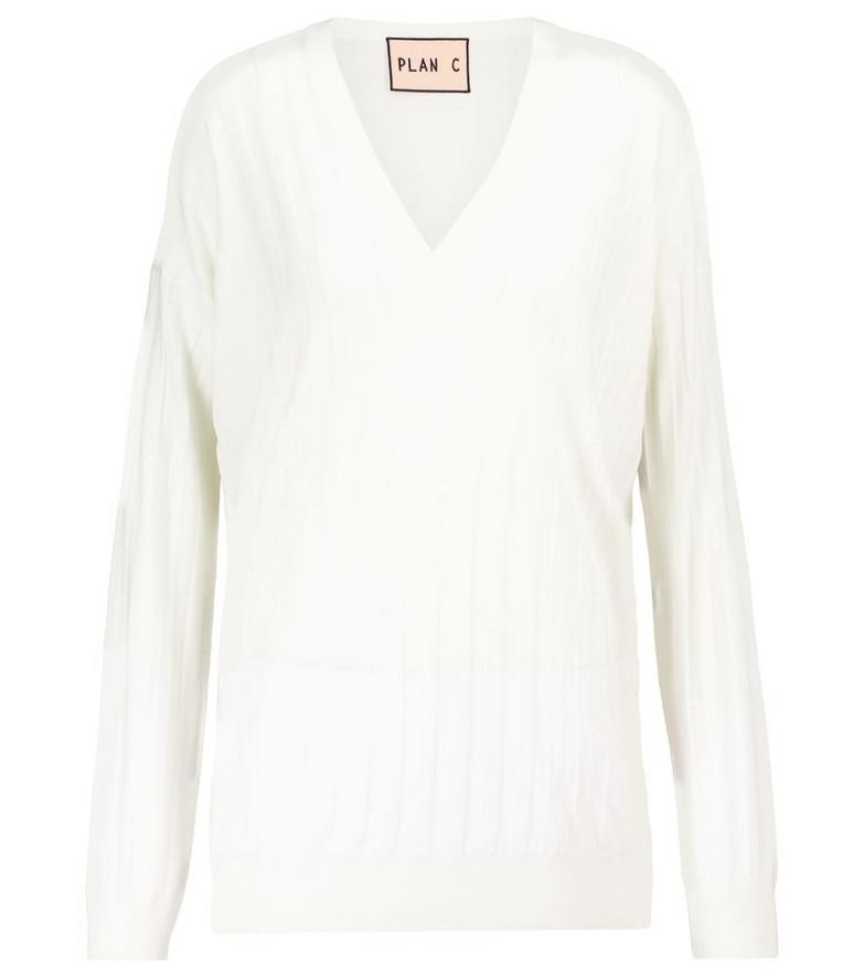 Plan C Ribbed wool sweater in white