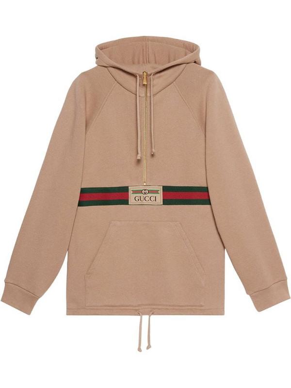 Gucci Web-detail hoodie in brown