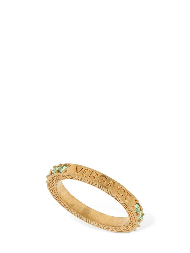 VERSACE Embellished Logo Ring in gold / green