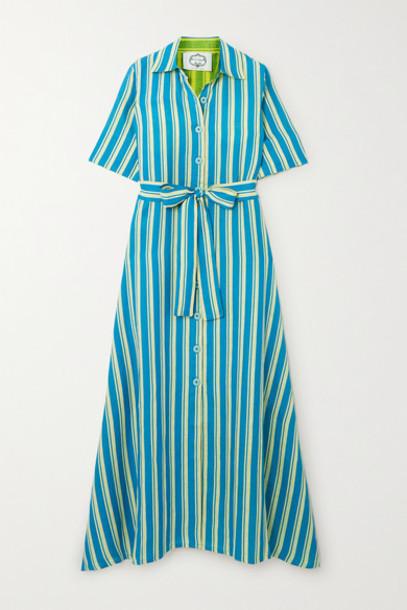 Evi Grintela - Sunflower Belted Striped Cotton-poplin Maxi Dress - Blue