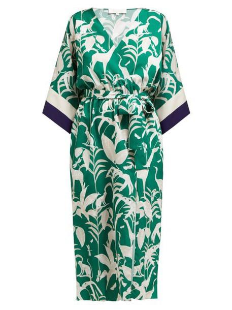 Borgo De Nor - Raquel Jungle Print Slit Hem Dress - Womens - Green White