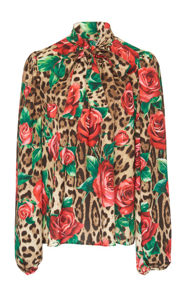 Dolce & Gabbana Floral And Leopard Crepe Pussybow Blouse Size: 36