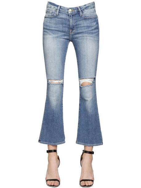 FRAME Le Crop Mini Boot Cotton Denim Jeans in blue