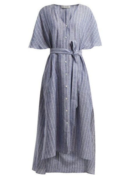 Palmer/harding Palmer//harding - Striped Tie Waist Linen Dress - Womens - Navy Stripe