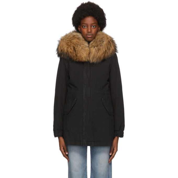 Mr and Mrs Italy Black Down New York Parka in natural