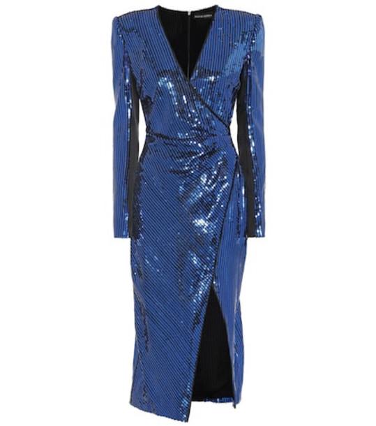 David Koma Sequined midi dress in blue