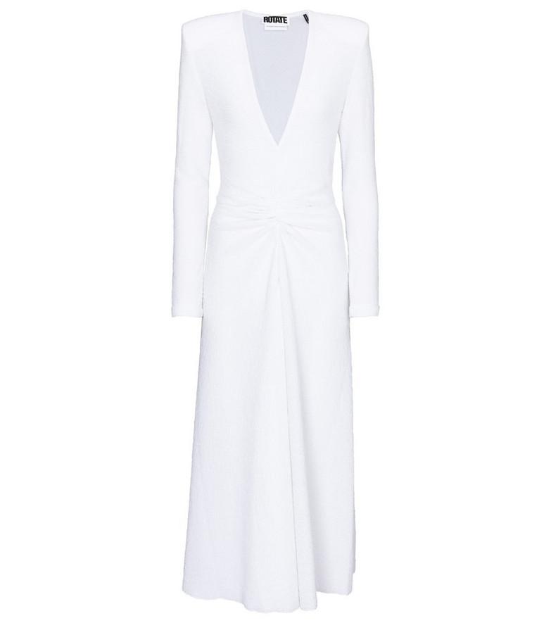 ROTATE BIRGER CHRISTENSEN Lili ruched jersey midi dress in white