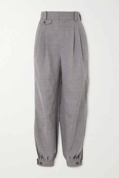 Loewe - Leather-trimmed Pinstriped Wool And Silk-blend Tapered Pants - Gray
