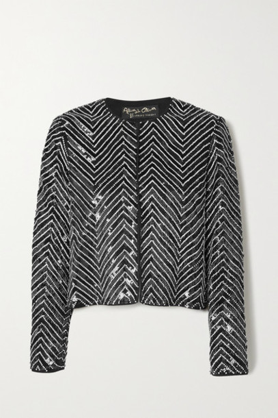 Alice + Olivia Alice Olivia - Kidman Crystal-embellished Sequined Silk Jacket - Black