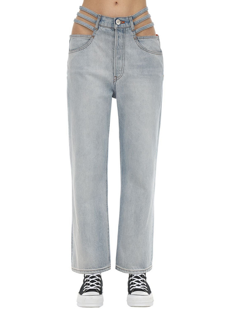 3X1 Willow Cutout Cotton Denim Jeans in blue