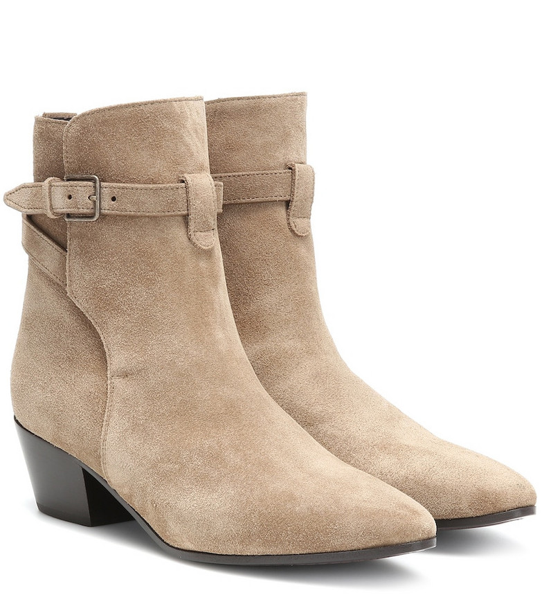 Saint Laurent West Jodhpur 40 suede ankle boots in beige