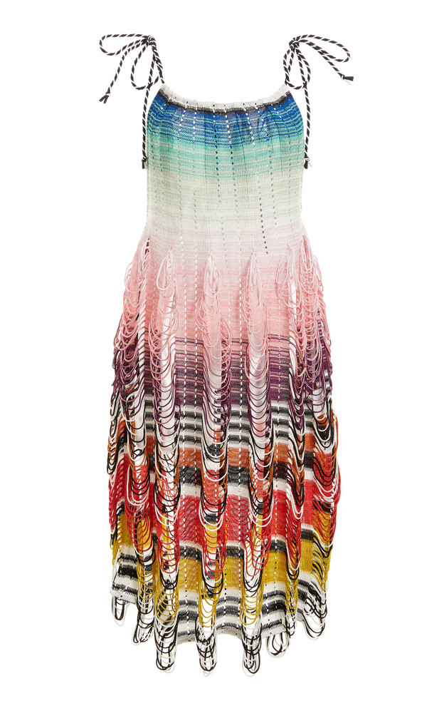 Missoni Mare Striped Jersey-Knit Knee-Length Cover Up Dress in print
