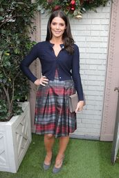 sweater,cardigan,skirt,midi skirt,ashley greene,celebrity