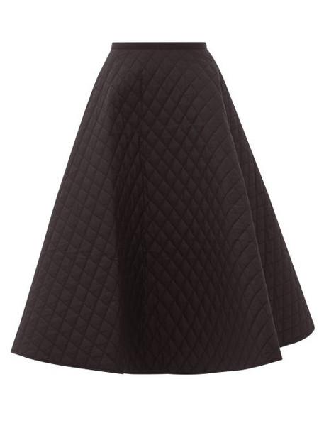 Lee Mathews - Olive Quilted Cotton-poplin Midi Skirt - Womens - Black