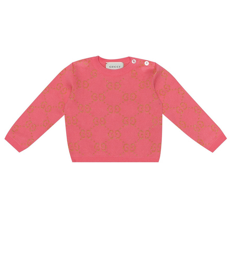 Gucci Kids Baby intarsia cotton-blend sweater in pink