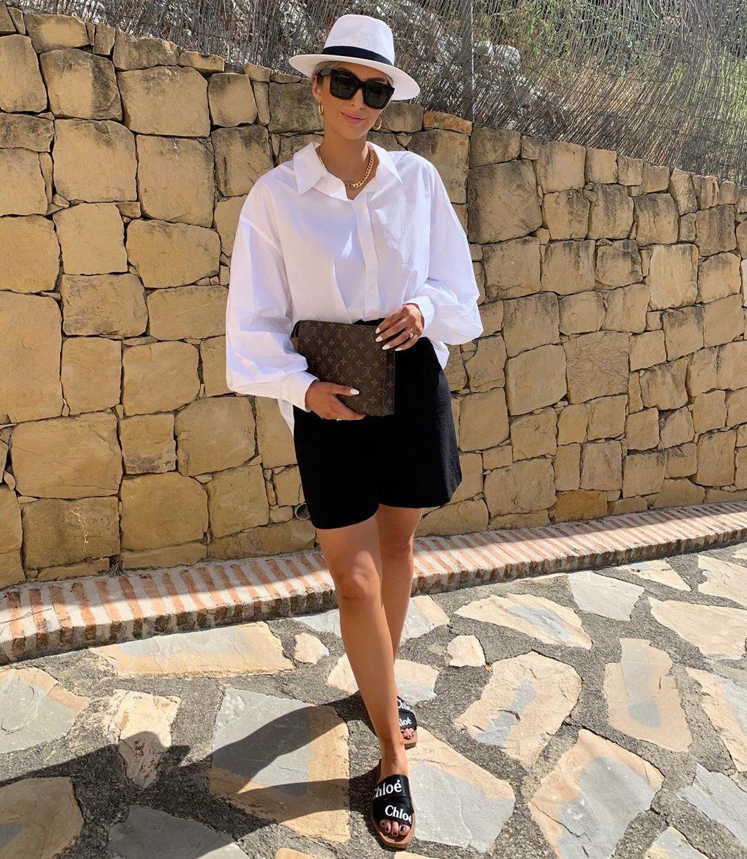 shorts black shorts white shirt slide shoes bag hat