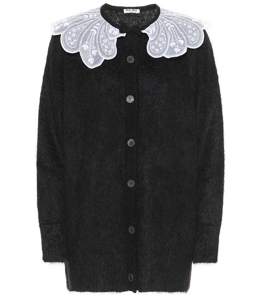 Miu Miu Lace-trimmed mohair-blend cardigan in black