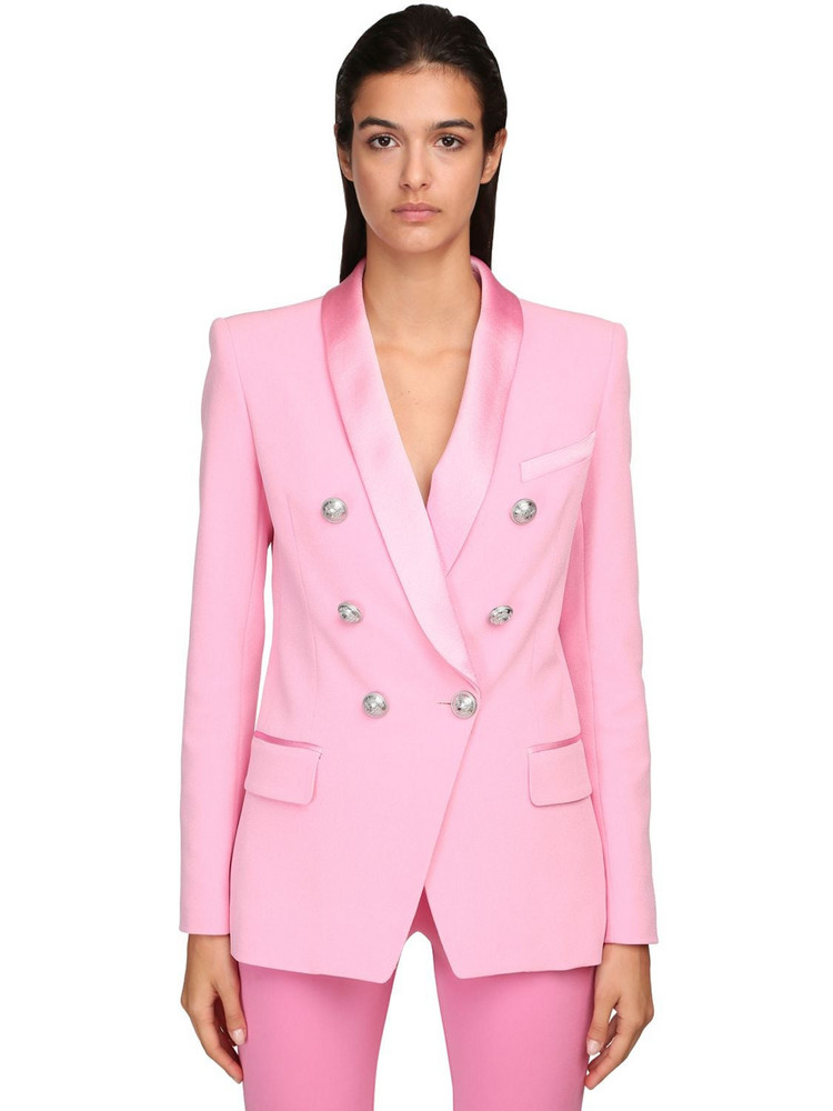 BALMAIN Double Breasted Crepe & Satin Jacket in pink
