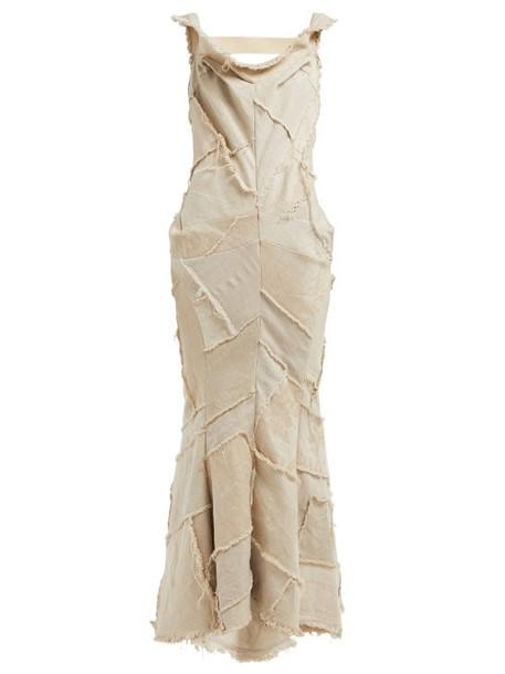 Junya Watanabe - Patchwork Linen Dress - Womens - Beige