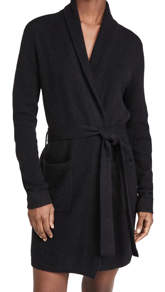White + Warren White + Warren Cashmere Short Robe in black