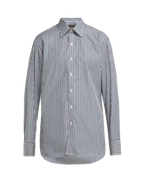 Emma Willis - Bengal Stripe Slim Fit Cotton Shirt - Womens - Green Navy