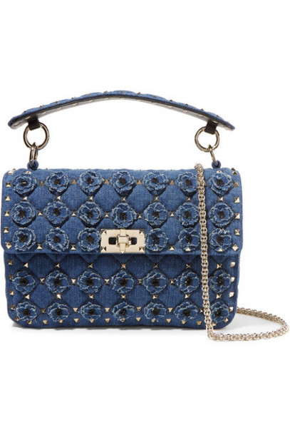 Valentino - Valentino Garavani The Rockstud Spike Medium Embellished Quilted Denim Shoulder Bag - Mid denim