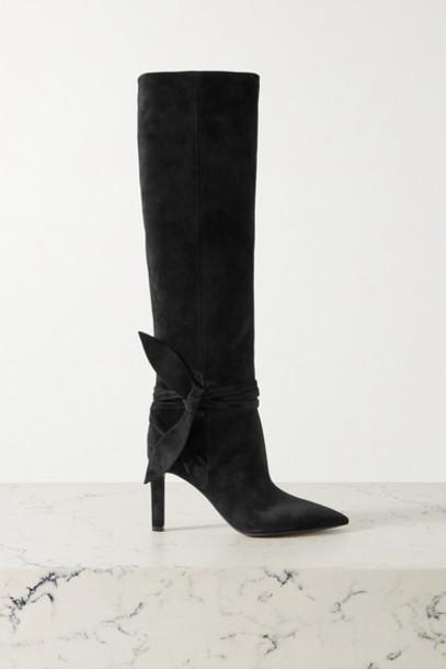 SAINT LAURENT - Grace Bow-embellished Suede Knee Boots - Black