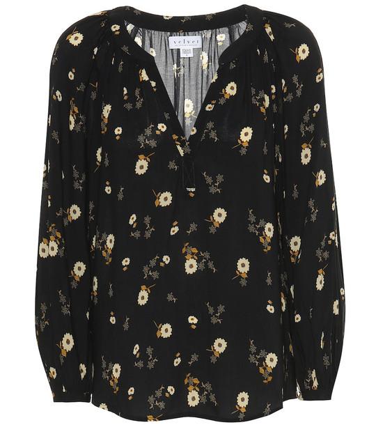Velvet Jasmine floral blouse in black