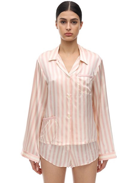 MORGAN LANE Ruthie Striped Silk Charmeuse Pajama Top in cream / pink