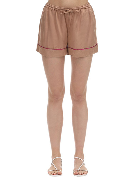 UNDERPROTECTION Lisa Satin Pajama Shorts in beige