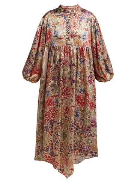 By Walid - Paris Antique Silk Dress - Womens - Pink Print