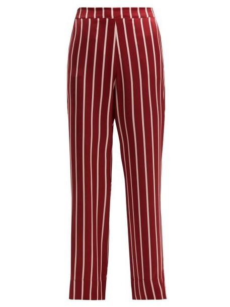 Asceno - Striped Sandwashed Silk Pyjama Trousers - Womens - Burgundy Stripe