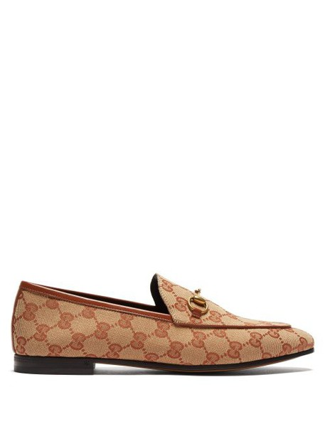 Gucci - Jordaan Gg Jacquard Canvas Loafers - Womens - Beige Multi