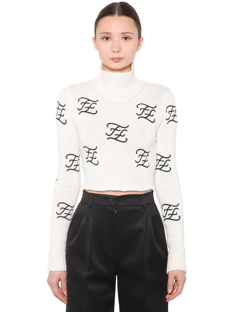 FENDI Embroidered Wool & Cashmere Knit Sweater in white