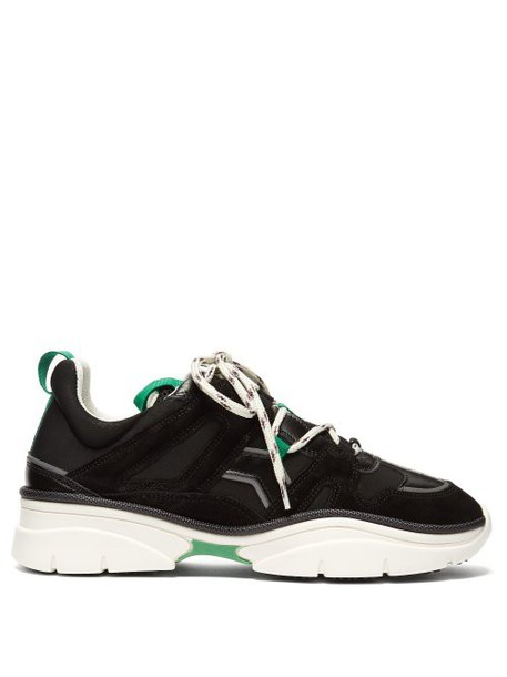 Isabel Marant - Kindsay Leather And Suede Trainers - Womens - Black Green