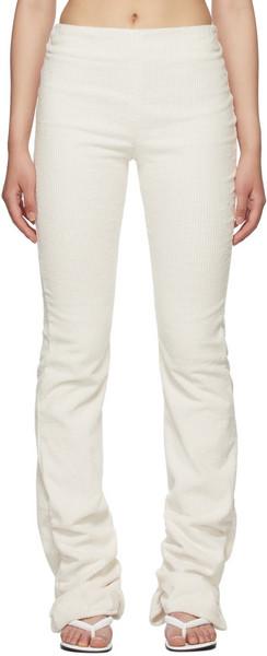 Danielle Guizio Off-White Corduroy Ruched Leggings in cream