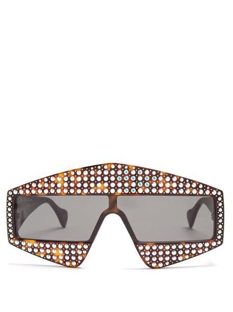 Gucci - Crystal Embellished Acetate Sunglasses - Womens - Brown Silver