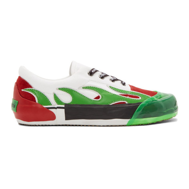 Palm Angels Green and Red Flame Sneakers