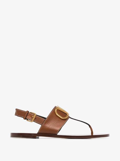 Valentino brown Garavani VLOGO leather sandals