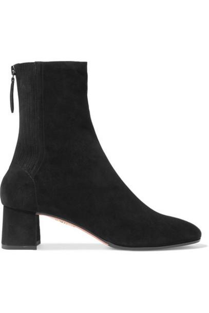 Aquazzura - Saint Honoré Suede Sock Boots - Black