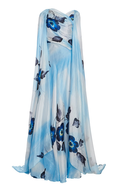 Rodarte Draped Floral Painted Crepe Cape Gown in blue