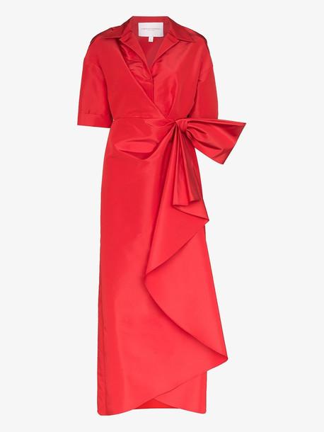 Carolina Herrera gathered knot front silk maxi dress in red