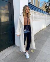 coat,white coat,teddy bear coat,white sneakers,plaid,high waisted pants,top,crossbody bag